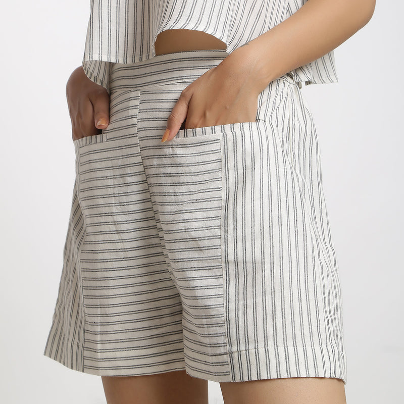 Left Detail of a Model wearing Handspun Cotton Striped Paneled Shorts