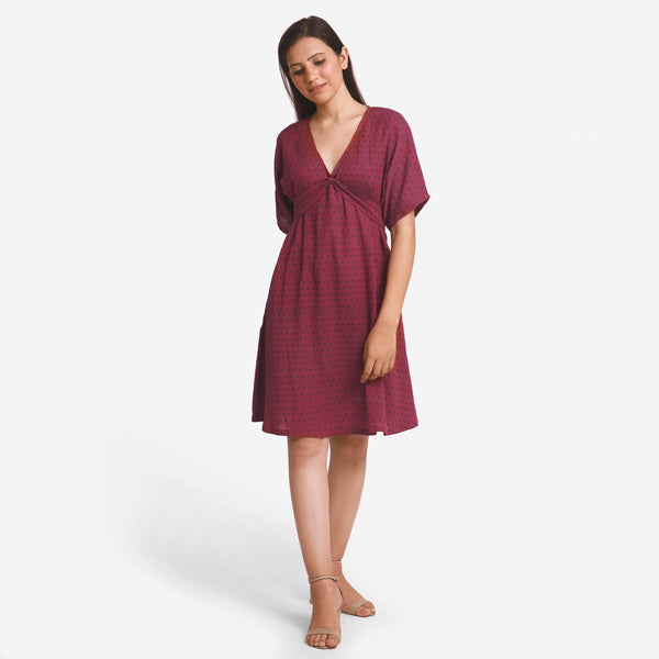 Crimson Polka Dot V-Neck Blouson Dress