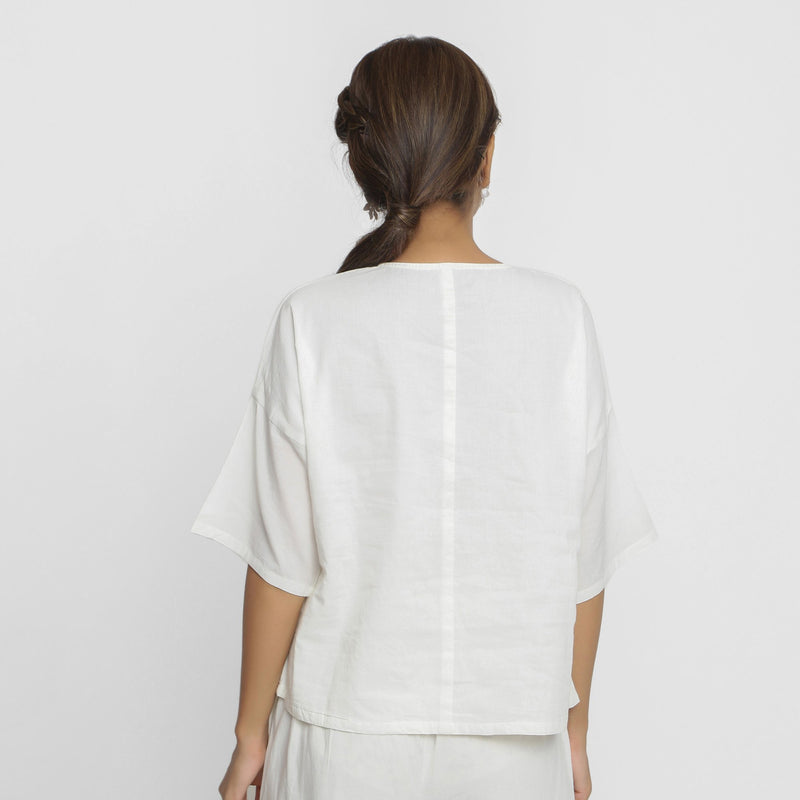 Back View of a Model wearing Hand Embroidered Organic Cotton Paneled Top