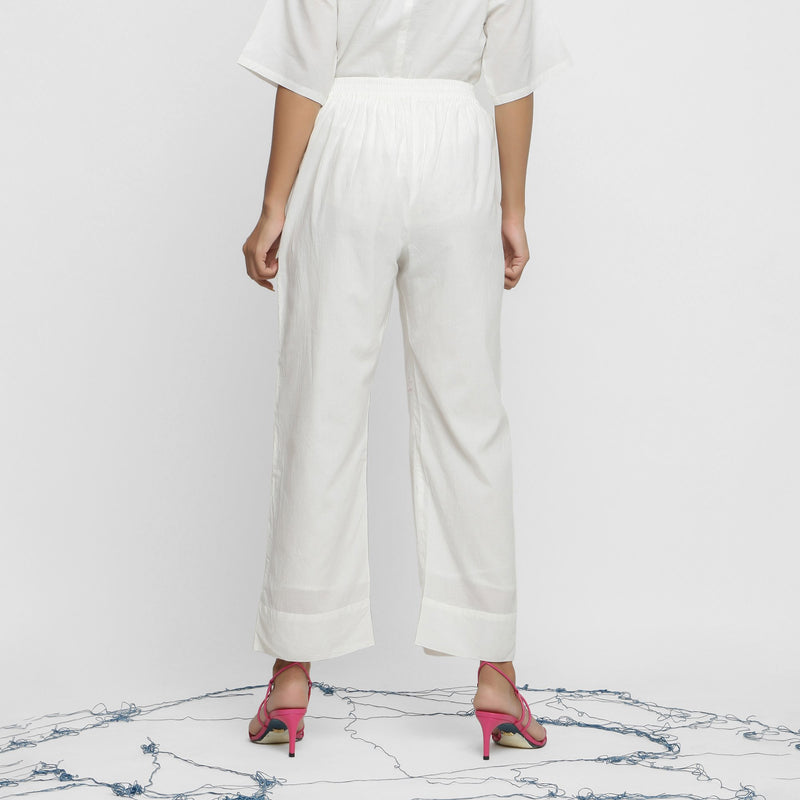 Back View of a Model wearing Off-White Banded Hem Straight Pant