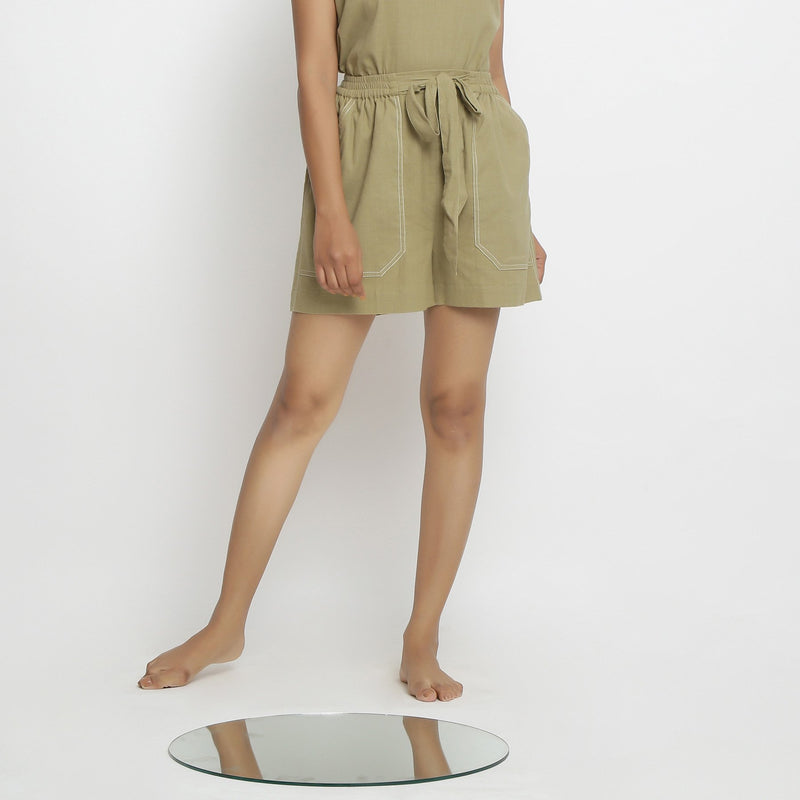 Front View of a Model wearing Khaki Vegetable Dyed Handspun Short Shorts