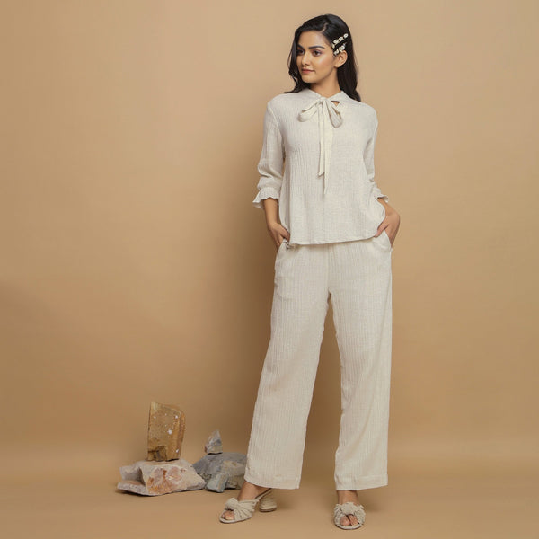 Front View of a Model wearing Relaxed Cotton Flax Ecru Top and Pant Set