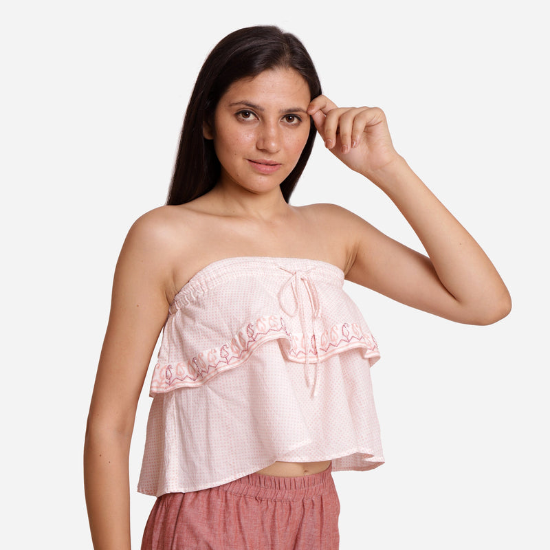 Right View of a Model wearing Hand Embroidered Relaxed Fit Tube Top