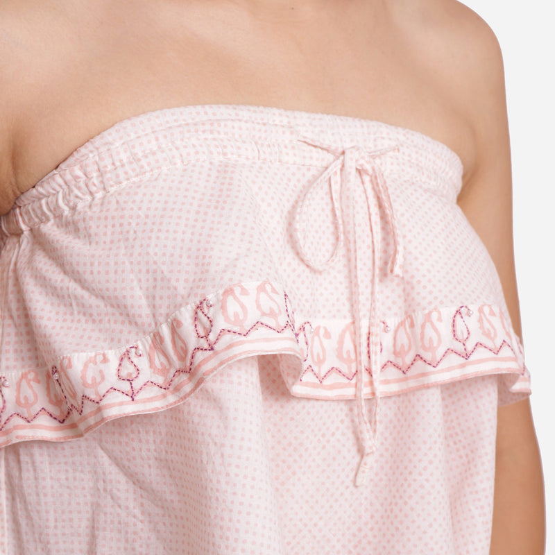 Front Detail of a Model wearing Hand Embroidered Relaxed Fit Tube Top