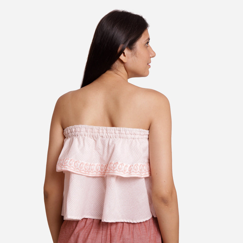 Back View of a Model wearing Hand Embroidered Relaxed Fit Tube Top