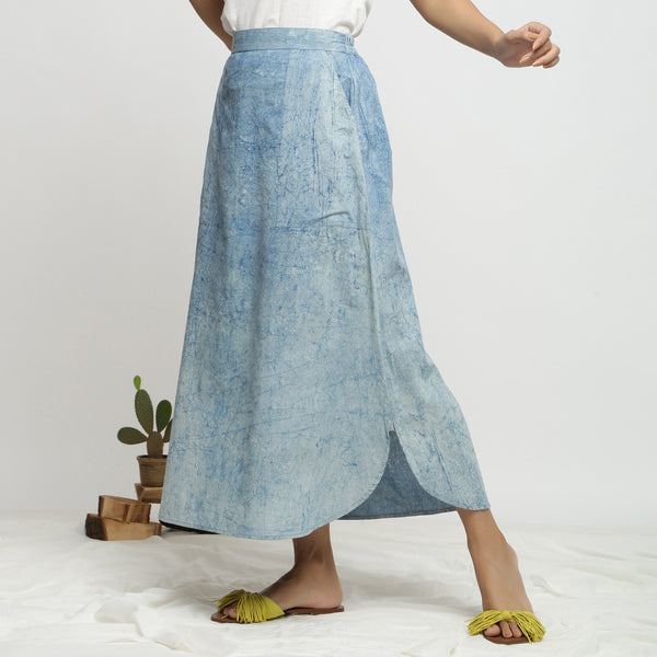 Left View of a Model wearing Dabu Printed Breezy Blue A-Line Skirt