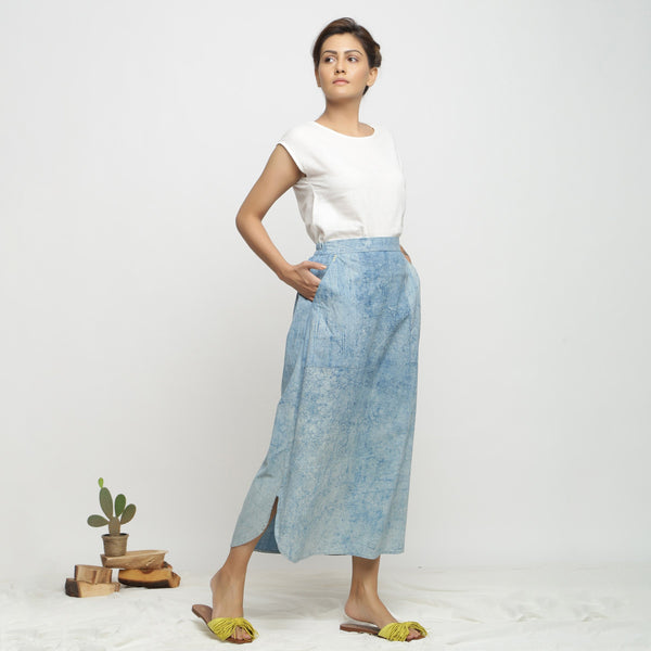 Right View of a Model wearing Dabu Printed Breezy Blue A-Line Skirt