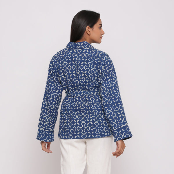 Back View of a Model wearing Dabu Hand-Block Printed Front Open Overlay