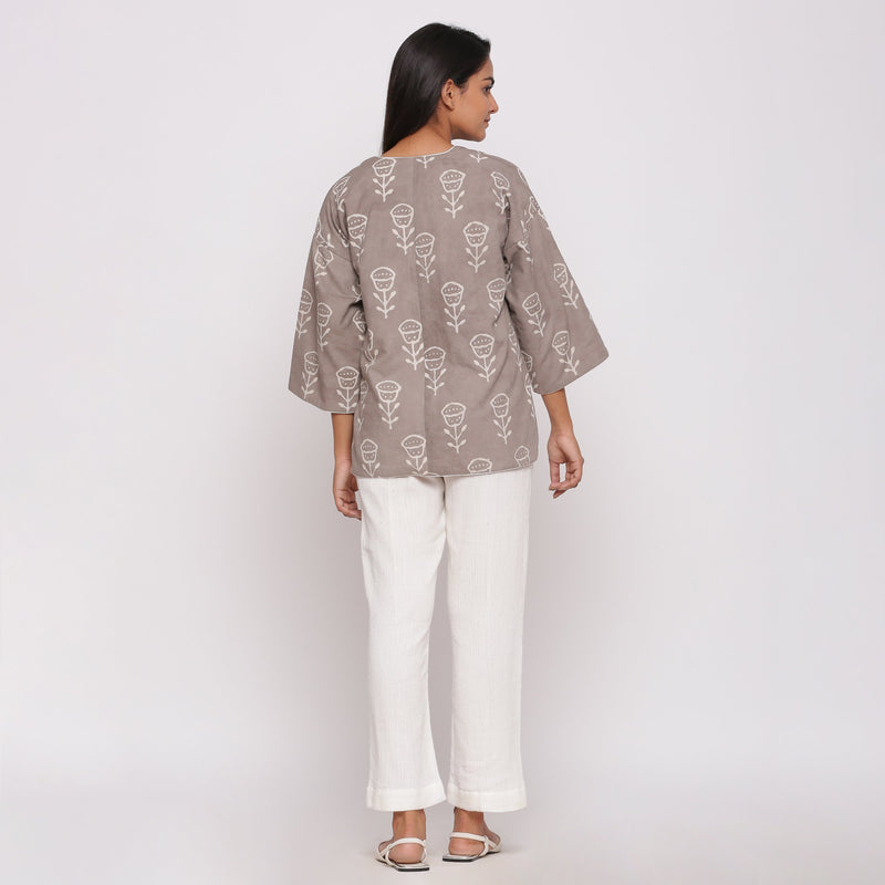 Back View of a Model wearing Reversible Dabu Block Printed Overlay