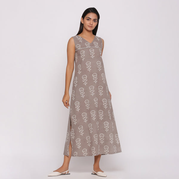 Front View of a Model wearing Dabu Block Printed Sleeveless Shift Dress