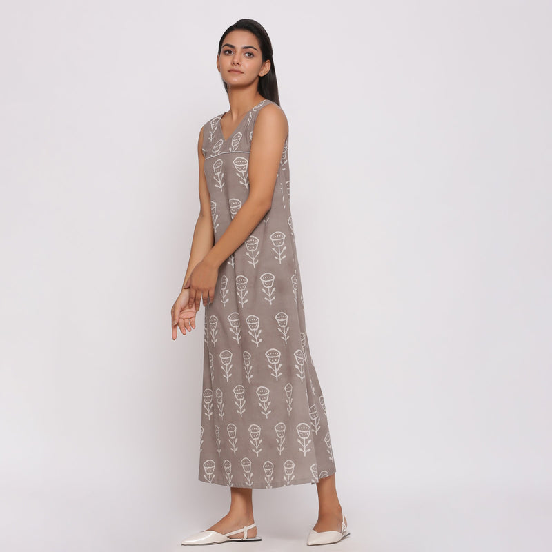 Left View of a Model wearing Dabu Block Printed Sleeveless Shift Dress