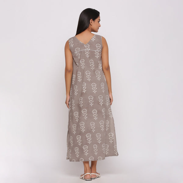 Back View of a Model wearing Dabu Block Printed Sleeveless Shift Dress