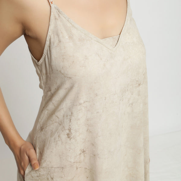 Front Detail of a Model wearing Dabu Hand-Lep A-Line Beige Dress