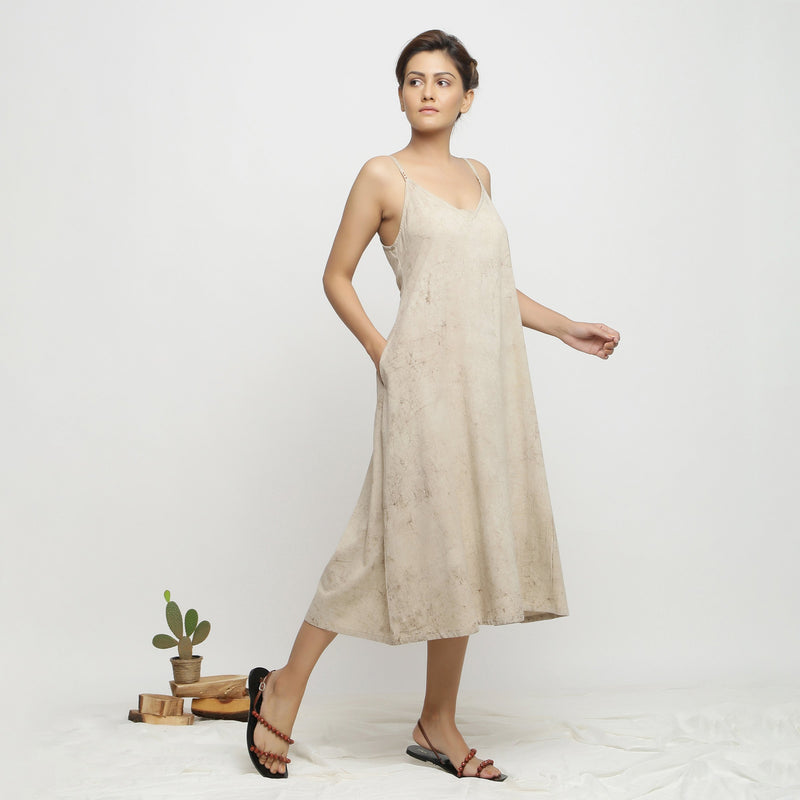 Right View of a Model wearing Dabu Hand-Lep A-Line Beige Dress