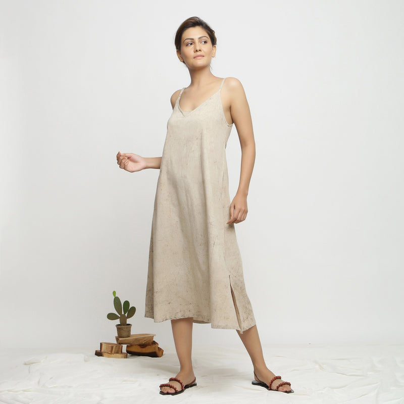 Front View of a Model wearing Dabu Hand-Lep A-Line Beige Dress