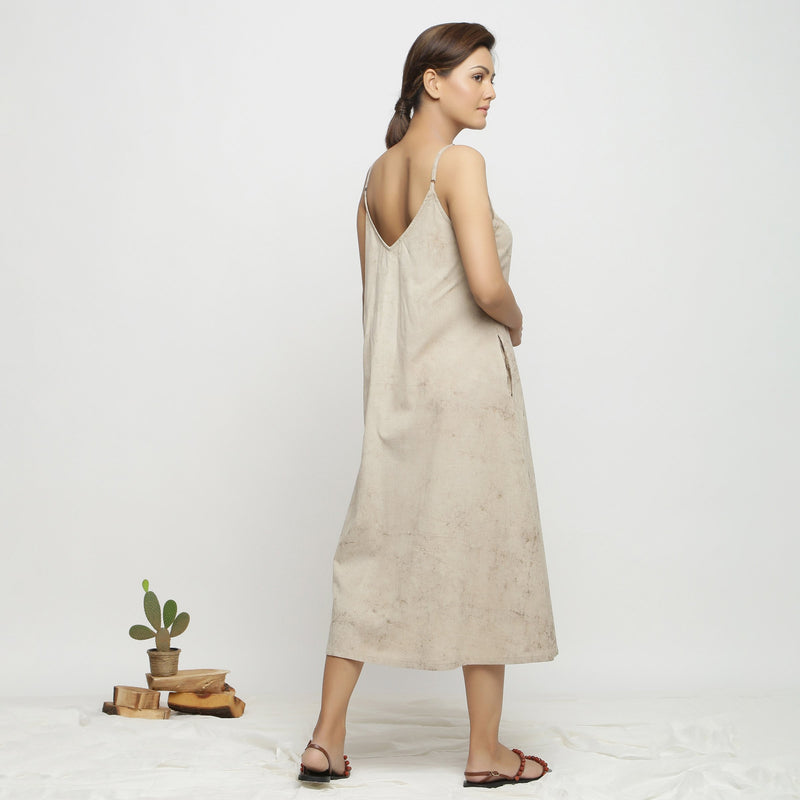 Back View of a Model wearing Dabu Hand-Lep A-Line Beige Dress