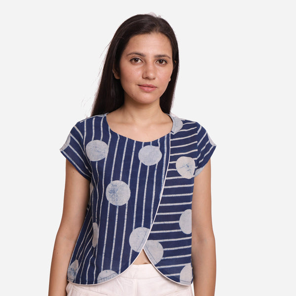 Front View of a Model wearing Polka Dot Dabu Printed Indigo Crop Top