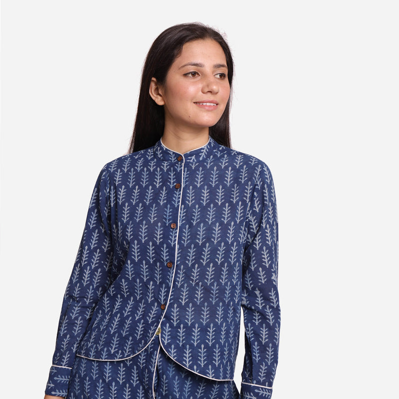 Front View of a Model wearing Indigo Dabu Block Printed Button-Down Shirt