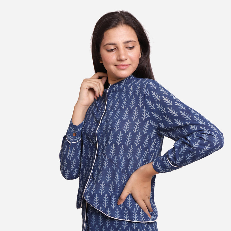 Left View of a Model wearing Indigo Dabu Block Printed Button-Down Shirt