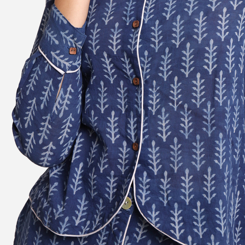 Front Detail of a Model wearing Indigo Dabu Block Printed Button-Down Shirt