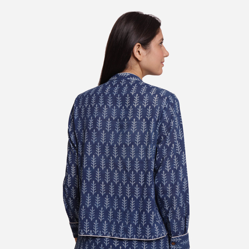 Back View of a Model wearing Indigo Dabu Block Printed Button-Down Shirt