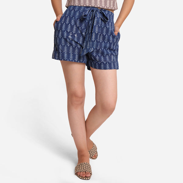 Front View of a Model wearing Indigo Dabu Print High Rise Comfort Fit Shorts