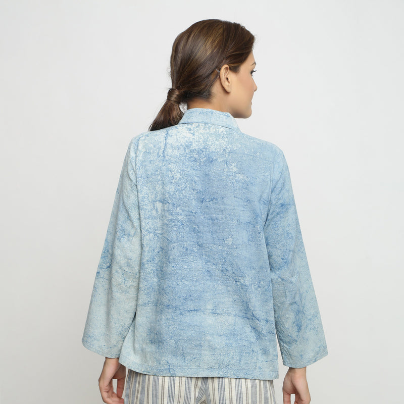 Back View of a Model wearing Dabu Printed Natural Dyed Blue Top