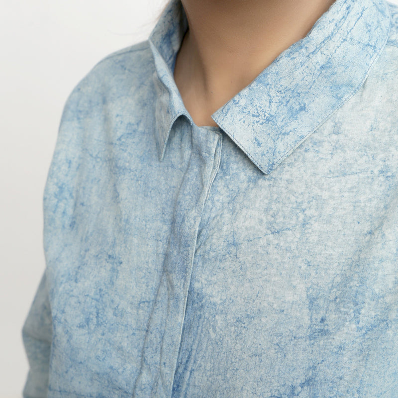 Close View of a Model wearing Dabu Printed Natural Dyed Blue Top