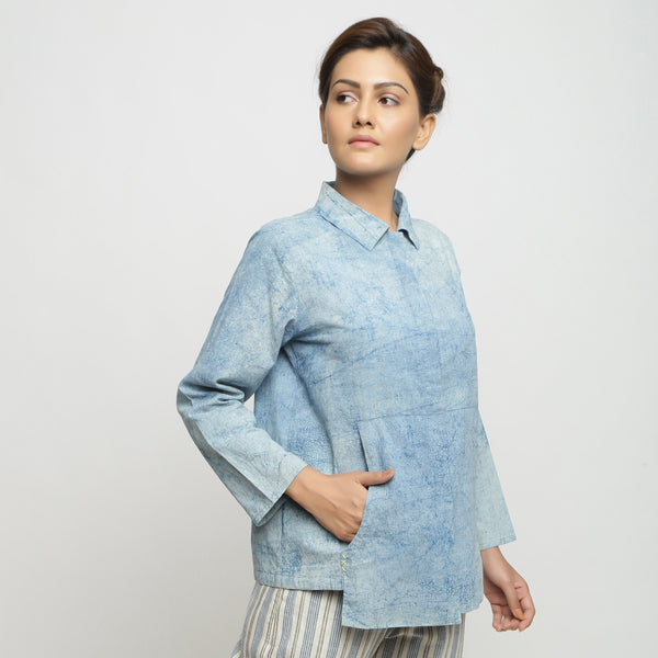 Right View of a Model wearing Dabu Printed Natural Dyed Blue Top