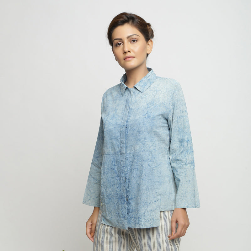 Front View of a Model wearing Dabu Printed Natural Dyed Blue Top
