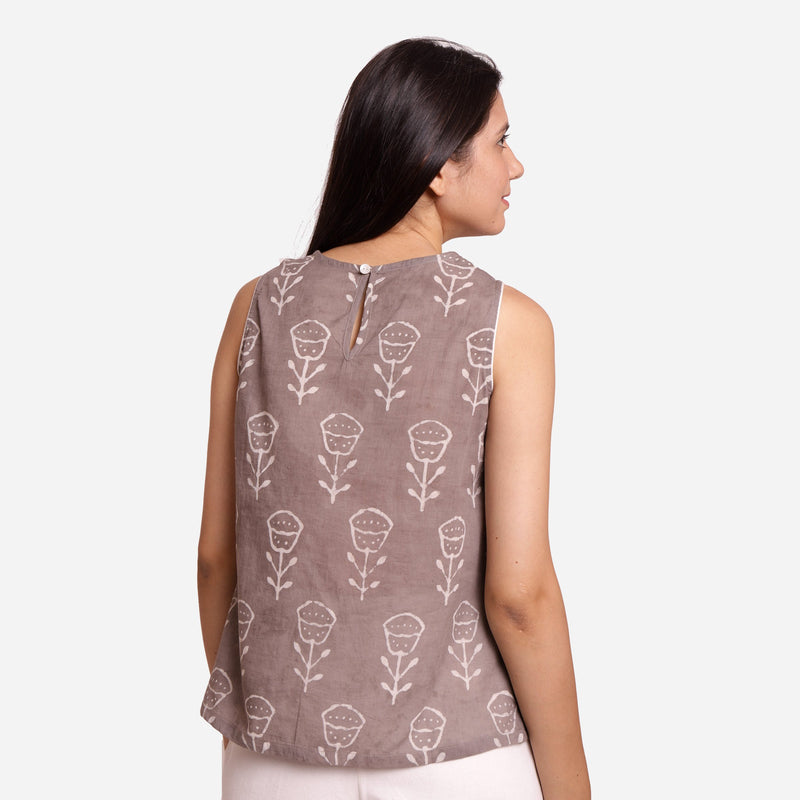 Back View of a Model wearing Grey Dabu Print A-Line Sleeveless Slit Top