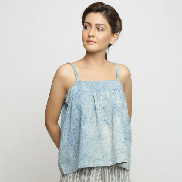 Front View of a Model wearing Blue Dabu Print Strappy Camisole Top