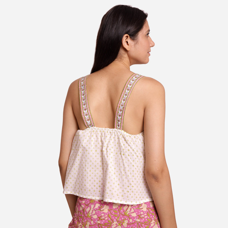 Back View of a Model wearing White Geometric Print Lace Crop Top