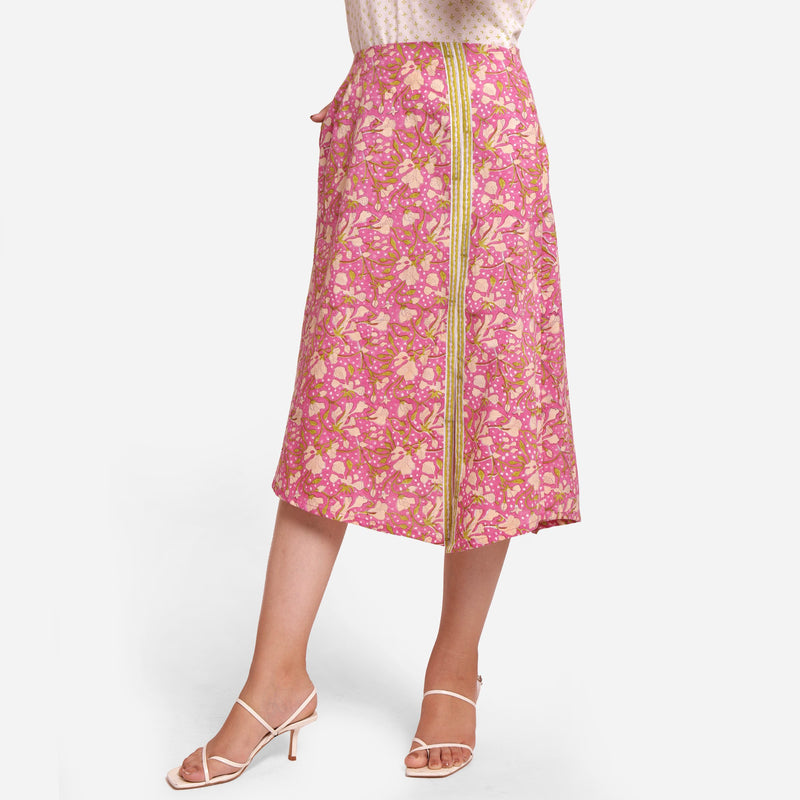 Front View of a Model wearing Wine Sanganeri Block Printed Slit Skirt