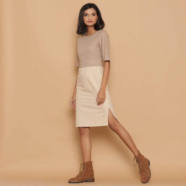 Front View of a Model wearing Dusk Beige Slim Fit Shift Dress