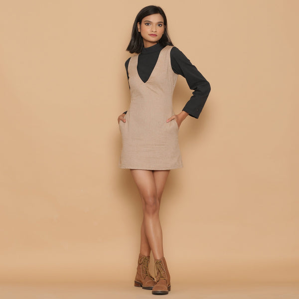 Front View of a Model wearing Dusk Brown Slim Fit Short Sheath Dress