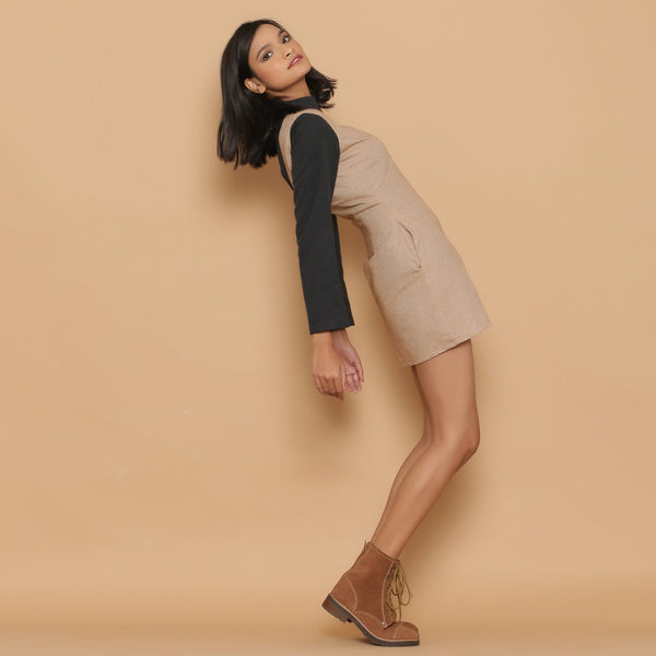 Right View of a Model wearing Dusk Brown Slim Fit Short Sheath Dress