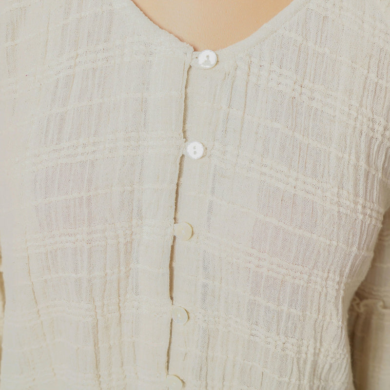 Front  Detail of a Model wearing Ecru Cotton Flax Frilled Button-Down Top