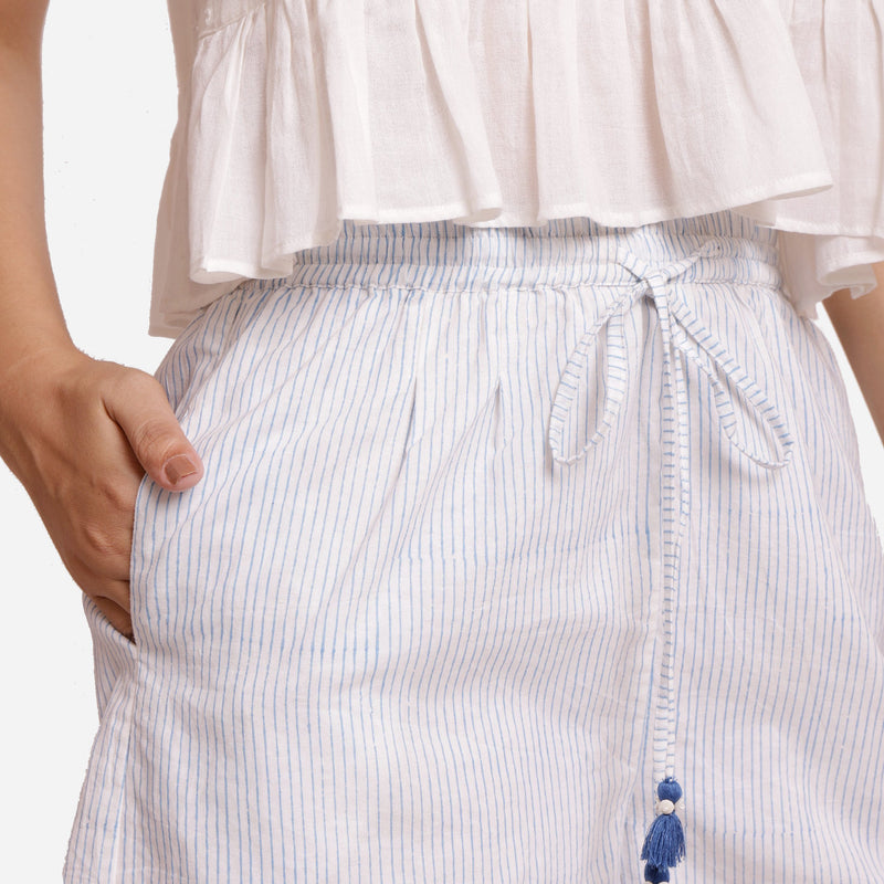 Front Detail of a Model wearing Elastic Waist Striped Short Boxers