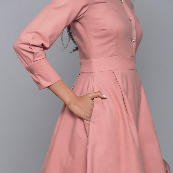 Right Detail of a Model wearing English Rose Flannel Button-Down Dress
