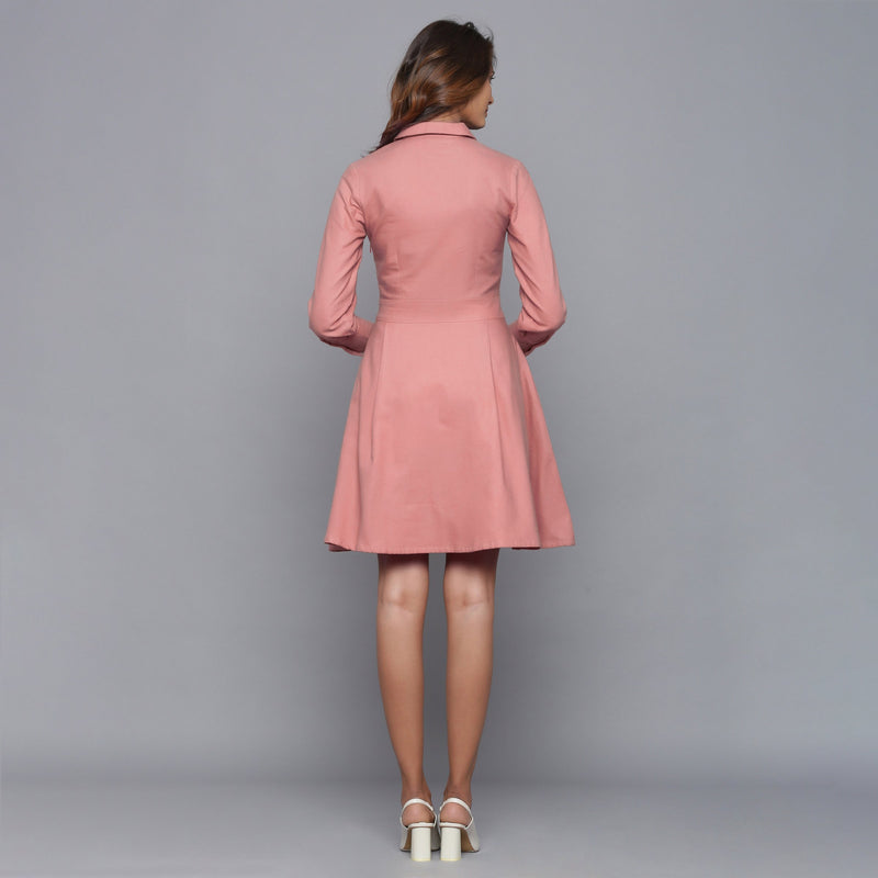 Back View of a Model wearing English Rose Button-Down Flannel Dress