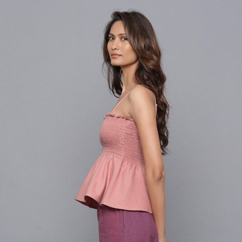 Left View of a Model wearing English Rose Flannel Gathered Top