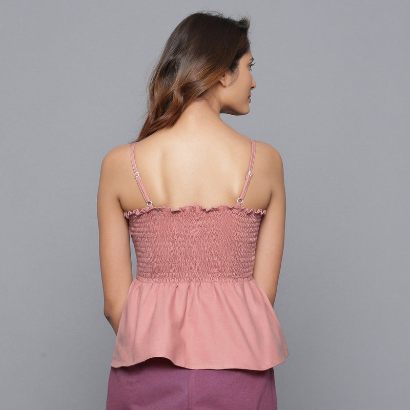 Back View of a Model wearing English Rose Flannel Gathered Top