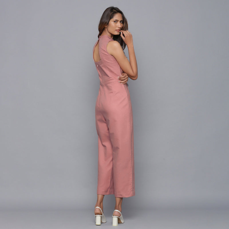 Back View of a Model wearing English Rose Flannel Sleeveless Jumpsuit