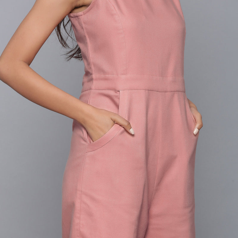 Right Detail of a Model wearing English Rose Flannel Sleeveless Jumpsuit