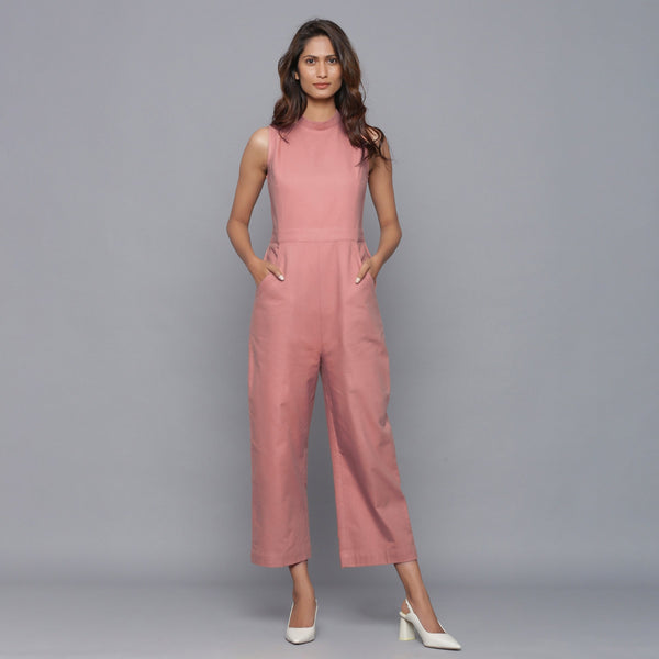 Front View of a Model wearing English Rose Straight Flannel Jumpsuit
