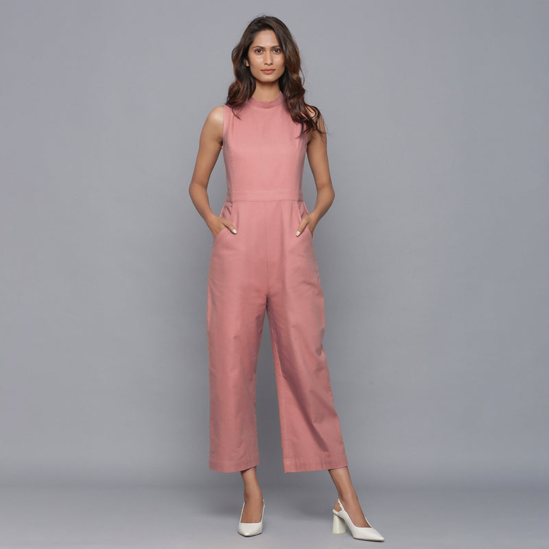 Front View of a Model wearing English Rose Flannel Sleeveless Jumpsuit