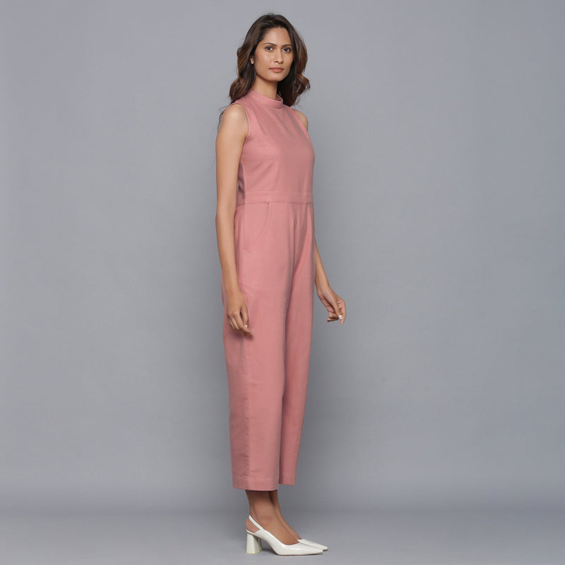 Right View of a Model wearing English Rose Flannel Sleeveless Jumpsuit