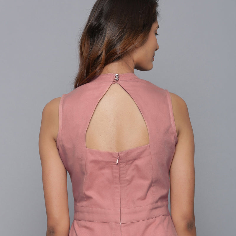 Back Detail of a Model wearing English Rose Flannel Sleeveless Jumpsuit