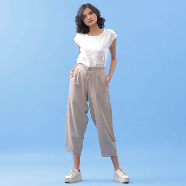 Front View of a Model wearing Essential Beige Cotton Paneled Pant